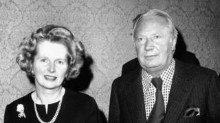 Margaret Thatcher and Ted Heath in 1975