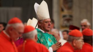 "Newly elected cardinal Gerhard Ludwig Muller of Germany arrives during a consistory ceremony led by Pope Francis in Saint Peter""s Basilica at the Vatican February 22, 2014."