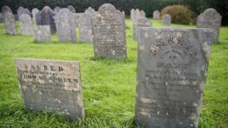 Headstones in a graveyard