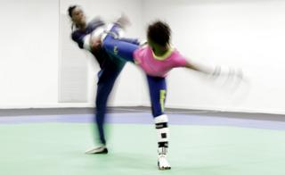Ruth Gbagbi, left, and Mamina Kone of Ivory Coast practice taekwondo in a training room in Riocentro ahead of the 2016 Summer Olympics in Rio de Janeiro, Brazil, Wednesday, Aug. 3, 2016