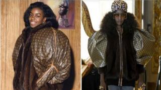 古馳2018泡泡袖皮草夾克,被控抄襲1989年黑人藝術家Dapper Dan為奧運選手Diane Dixon設計的路易威登外套。