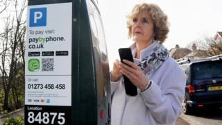 Woman at parking meter