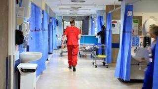 A nurse in a hospital ward