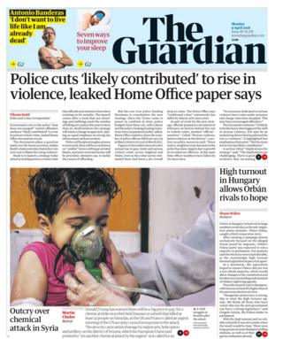 Guardian front page - 09/04/18