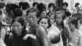 19th November 1979: Vietnamese women and children in the Hong Kong Government Dock Yard waiting to be relocated