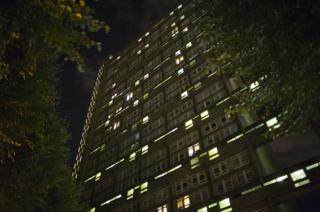 Exterior of Trellick Tower at night