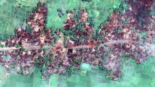 Recent satellite imagery released by Human Rights Watch claiming to show the complete destruction of Chein Khar Li village in Myanmar
