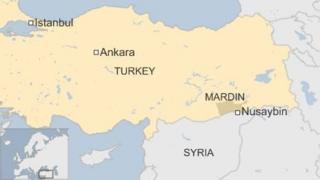 Map of Nusaybin in Turkey