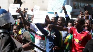 Protesters shouting at police in Harare, Zimbabwe - Wednesday 3 August 2016