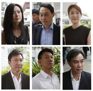 A combination photo shows the City Harvest Church accused (top-left to bottom-right): Serina Wee, Chew Eng Han, Sharon Tan, Kong Hee, Tan Ye Peng and John Lam