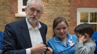 Jeremy Corbyn meets nurses on a visit to St Thomas' Hospital in London