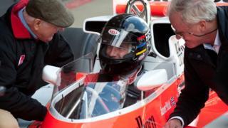 Murray Walker, Freddie Hunt and former McLaren team manager Alastair Caldwell