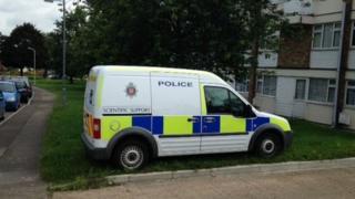Police van in Bramwoods Road