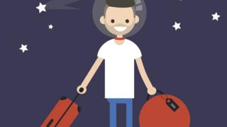 Space tourist with suitcase