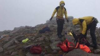 mountain rescue team on mountain