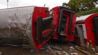 Carriages flipped over at high speed