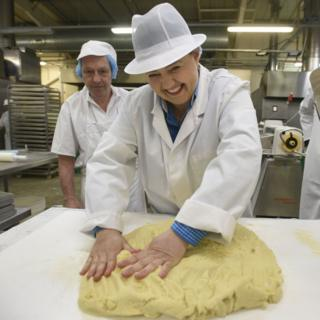 Scottish Conservative leader Ruth Davidson kneading dough during a visit to the Shortbread House of Edinburgh's factory on the election campaign trail.