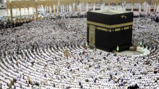 Msikiti wa Grand Mosque ulio na al kaaba mjini Mecca