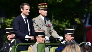 Mr Macron and Gen de Villiers at the Bastille Day parade last Friday