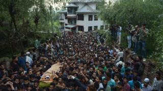 Crowds at Wani's funeral