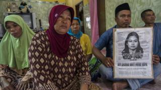 サウジアラビアで処刑されたインドネシア女性の遺族(2015年4月)