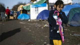 A young Kurdish girl at camp near Dunkirk