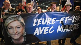 Supporters await Presidential Candidate Marine Le Pen ahead of A rally meeting in Villepinte on 1 May 2017 in Villepinte, France