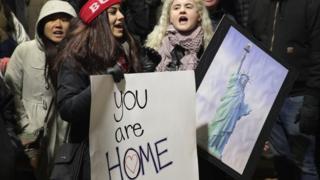Протестующие против указа Трампа об изменениях в миграционной политике