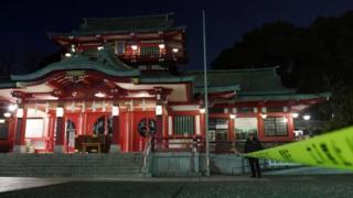 東京・江東区の富岡八幡宮は8月の「深川八幡宮祭り」で有名。写真は7日夜撮影