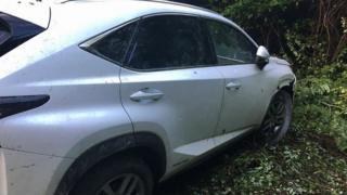 Lexus протаранив шлагбаум на кордоні
