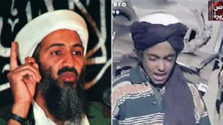 在右邊這段2001年的錄像畫面中,哈姆扎還是個少年。左為本拉登資料照片。