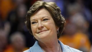 Former Tennessee women's basketball coach Pat Summitt smiles before the team's NCAA college basketball game against Notre Dame.