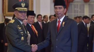 Jenderal Gatot Nurmantyo ketika dilantik Presiden Joko Widodo sebagai Panglima TNI, 8 Juli 2015.