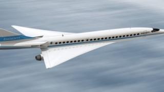 ภาพร่างของเครื่องบินโดยสารความเร็วเหนือเสียงที่บริษัท บูม ซูเปอร์โซนิก เตรียมจะสร้าง