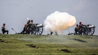 21-gun salute by Royal Artillery