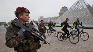 patrol at the Louvre museum in Paris
