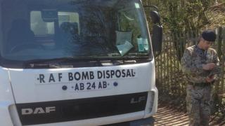 A bomb disposal team van