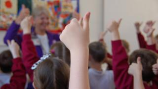 Hand up in classroom
