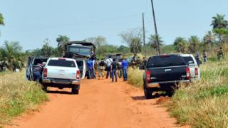 Police and soldiers remain on the site where eight Paraguayan soldiers were killed in the morning in an ambush with an IED (Improvised Explosive Device) presumably by members of the EPP leftist guerrilla, near Arroyito, 500 km north of Asuncion, on 27 August 2016.