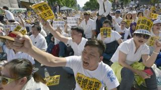Протестующие в Тайбэе