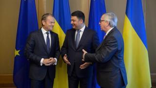 Владимир Гройсман с Дональдом Туском и Жан-Клодом Юнкером