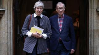 Theresa May and her husband Philip leave church on Sunday morning