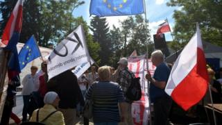 Protesters rally in front of Polish parliament in Warsaw. Photo: 14 July 2017