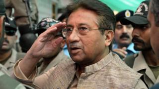 File photo: Former Pakistani president Pervez Musharraf (C), 20 April 2013