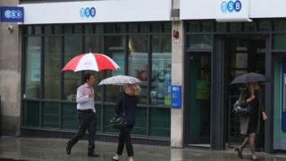 People outside a TSB branch