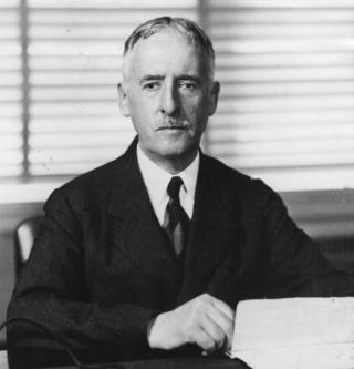 6th May 1941: The US Secretary for War, Henry L Stimson (1867 - 1950) broadcasting to the American nation about the support that the USA was to give Britain suffering from the blockade by the German navy