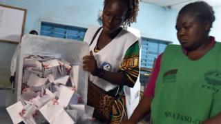 Counting of Burkina Faso's election votes at a polling station in Ouagadougou. 29 November 2015