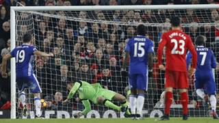 Diego Costa misses a penalty against Liverpool