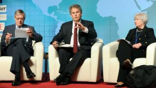 First deputy managing director of the IMF, David Lipton, centre, says the world is at a delicate juncture