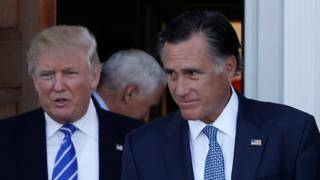 Donald Trump with Mitt Romney after their meeting in New Jersey, 19 November